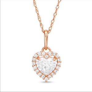 Jewelry - Heart Shaped CZ Frame Pendant Necklace